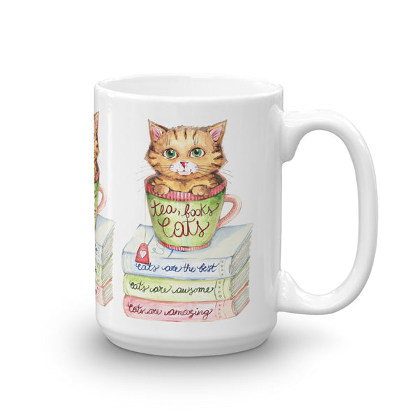 Tea, Books and Cats - Gift for Cat Lovers - CatCottageDesign