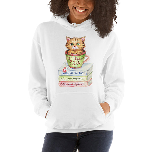 Hooded Sweatshirt - Tea, Books and Cats - Gift for Cat Lovers - CatCottageDesign