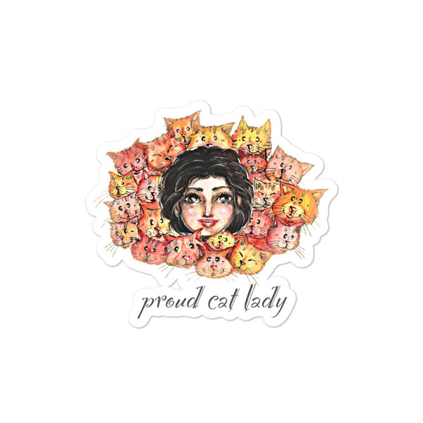 Proud Cat Lady | Bubble-free stickers | Cat Cottage Design