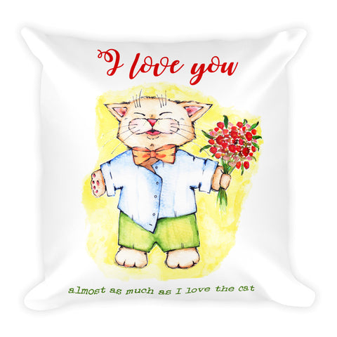 I Love You Basic Pillow - Gift for Cat Lovers - CatCottageDesign