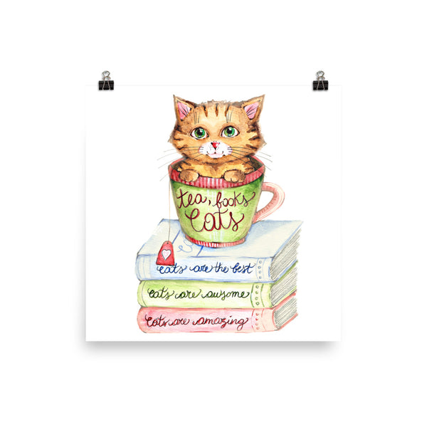 Tea, Cats and Books Poster - Gift for Cat Lovers - CatCottageDesign