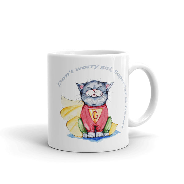 Super Cat is here! Mug - Gift for Cat Lovers - CatCottageDesign