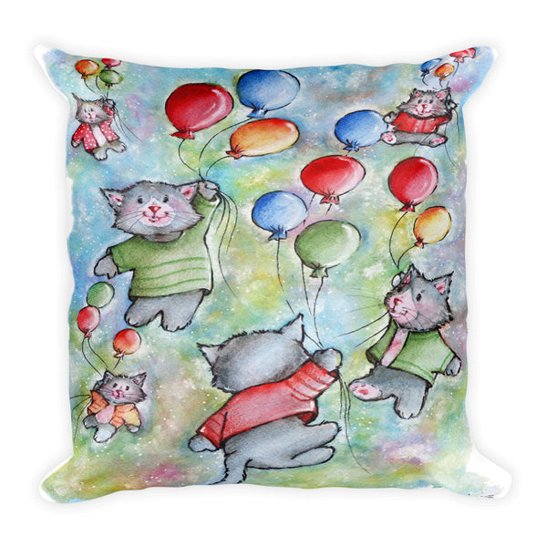 Cute Cats Flying with Colorful Balloons 1 - Gift for Cat Lovers - CatCottageDesign