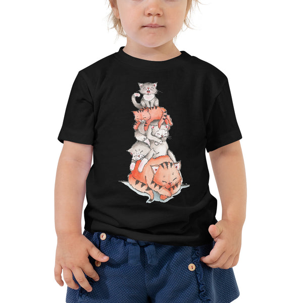 Toddler Short Sleeve Tee - A Pile of Sleeping Cats - Gift for Cat Lovers - CatCottageDesign