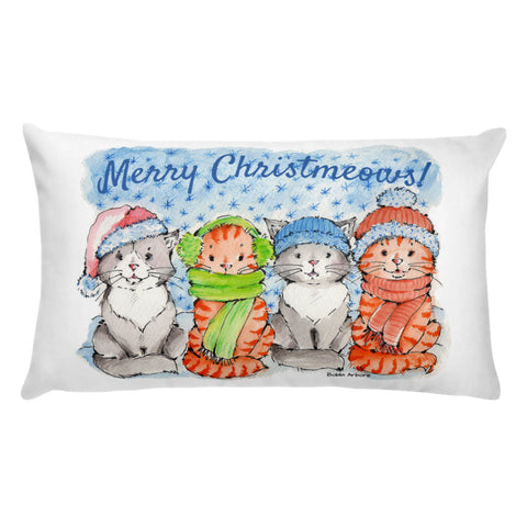 The Christmeows kitties | Basic Rectangular Pillow