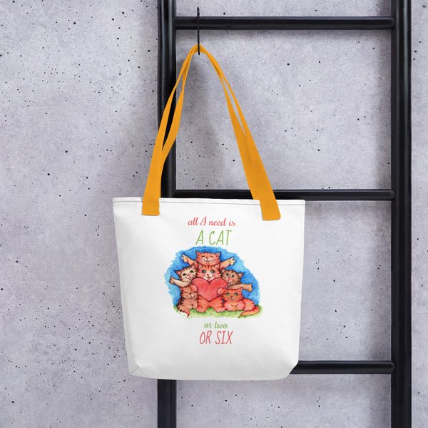 All I Need is a Cat - Tote Bag - Gift for Cat Lovers - CatCottageDesign