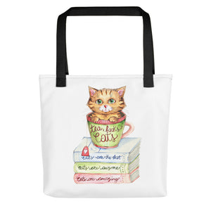 Tea Books and Cats - Tote Bag - Gift for Cat Lovers - CatCottageDesign