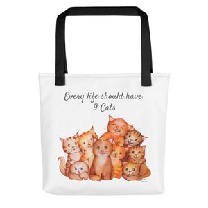 Every life shoud have nine cats | Tote bag | Cat Cottage Designs