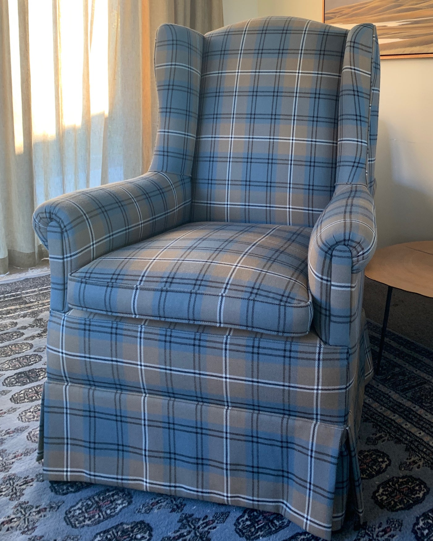Worsted Wool High Back Armchair