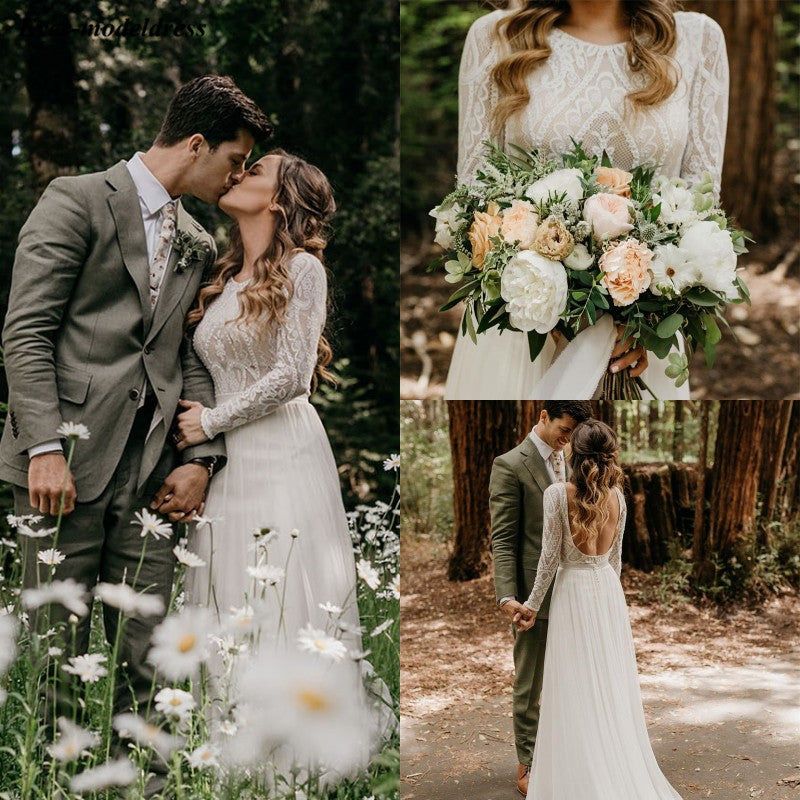 2019 Bohemian Lace Chiffon Beach Wedding Dresses With Long Sleeves Backless Country Bridal Gowns Plus Size vestiti da sposa