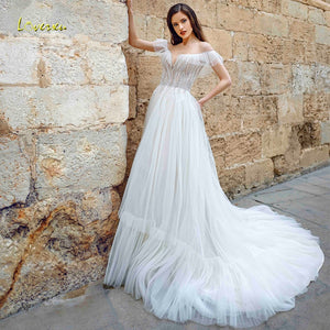 Loverxu Scoop A Line Boho Beach Chic Wedding Dresses Applique Beading Illusion Short Sleeve Bride Dress Chapel Train Bridal Gown