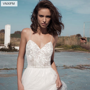 VNXIFM 2019 Sweetheart Boho Chic Wedding Dresses Spaghetti Straps Twist Lace Chiffon A Line Open Back Bohemian Dress Bridal Gown