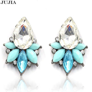 Crystal piercing accessories 3 colors chic earring blue pink crystal stone boho jewelry findings bijoux stud  earrings