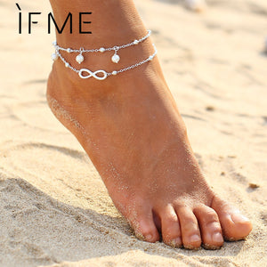 IF ME Fashion Infinity Charms Simulated Pearl Chain Beach Barefoot Sandals Foot Jewelry Boho Chic Anklets Gold And Silver Color