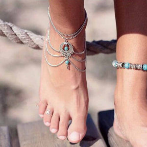 Blue stone Beads Anklets Chic Tassel Foot Chain Anklet Body Jewelry Anklets For Women
