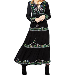 Khale Yose Spring Maxi Dress Long Sleeve Vintage Boho Chic Dress Women Floral Embroidery Dresses Gypsy Cotton Party Clothing New