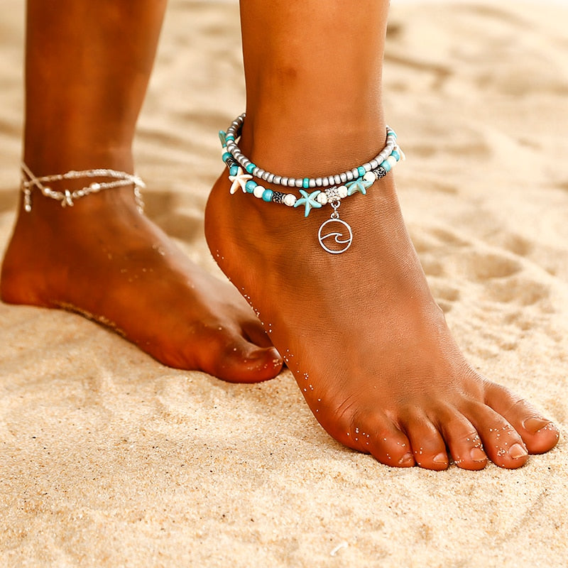 New Popular Bird Design Anklet Boho Chain Bead Summer Beach Foot Jewelry Blue White Starfish Braclet Anklet