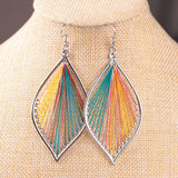 Handmade Wire Wrapped Earrings Dull Silver Leaf Fashion Women Jewelry