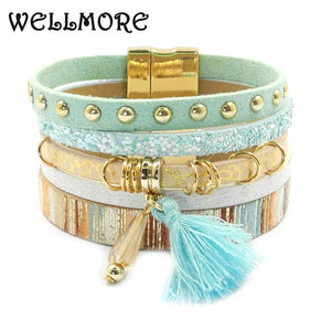 WELLMORE women leather bracelet 6 color bracelets Bohemian chram bracelets for women gift wholesale jewelry