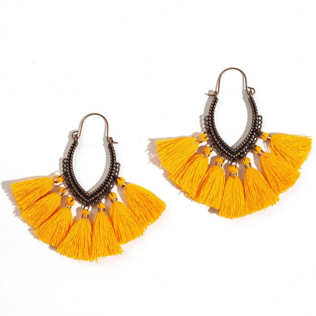 Fashion Handmade Tassel Earrings for Women Bohemia Ethnic Vintage Boho Fringe Statement Earring Charm Jewelry Gifts