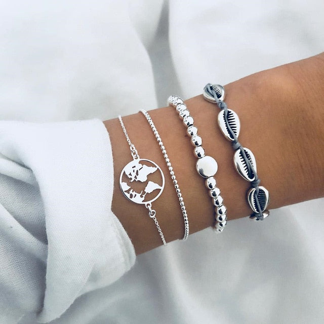Silver Color Alloy 4pcs Unisex Charm Bracelets Hollow Round Map Chic Bead Handmade Shell Jewelry
