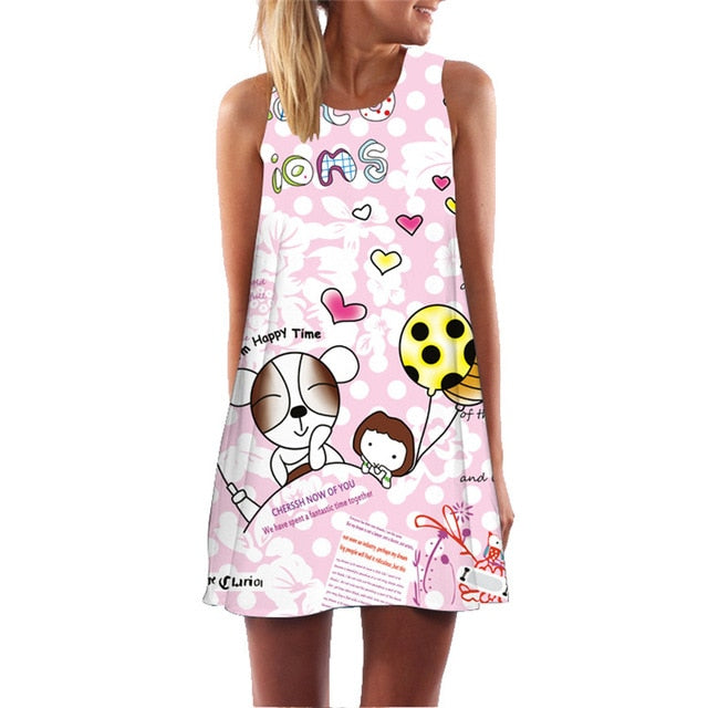 Big Red Mouth And Letter Novelty Print Women Summer Dress Sleeveless