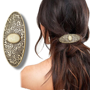 Vintage Gold Tribal Carved Oval Stone French Updo Boho Hair Clip Dress Snap Pin For Women Anime Wedding Accessories
