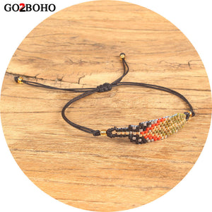 Go2boho  Feather Bracelet Delicas MIYUKI Seed Beads Bracelets Jewelry Inspired Gold Red Loom Woven Women Gifts