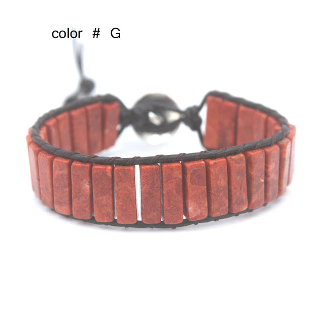 boho wrap bracelet for women Leather rope with stone beaded Fancy bracelet handmade