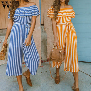 Sexy Stripe Off Cold Shoulder Ruffles Playsuits Jumpsuits