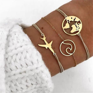 DIEZI Bohemia Boho Rope Chain Bracelets Bangles For Women Ocean Map Charm Bracelets Sets Jewelry Gifts New Vintage 2019 Dropship