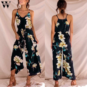 Strappy Floral Sling Long Trouser Playsuits Jumpsuit Rompers