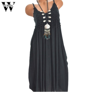 Womail dress Summer Holiday V-Neck Solid Sleeveless Boho Dress Beach Party Cotton Dress New fashion plus size 2019 dropship M23
