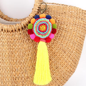 Bohemia Pom Tassel Keychain Bag Charm Women's Boho Handmade Jewelry Keyring For Party