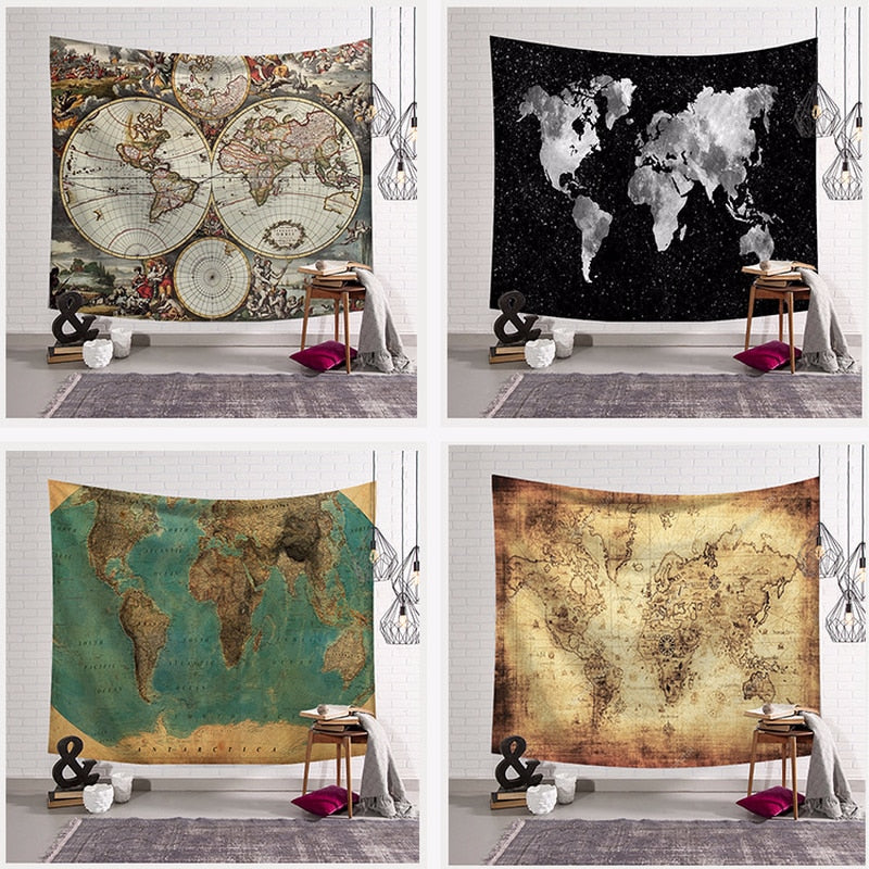Retro Style World Map Tapestry Wall Hanging Hippie Bohemian Tapestries Table Cloth Blanket Beach Towel Yoga