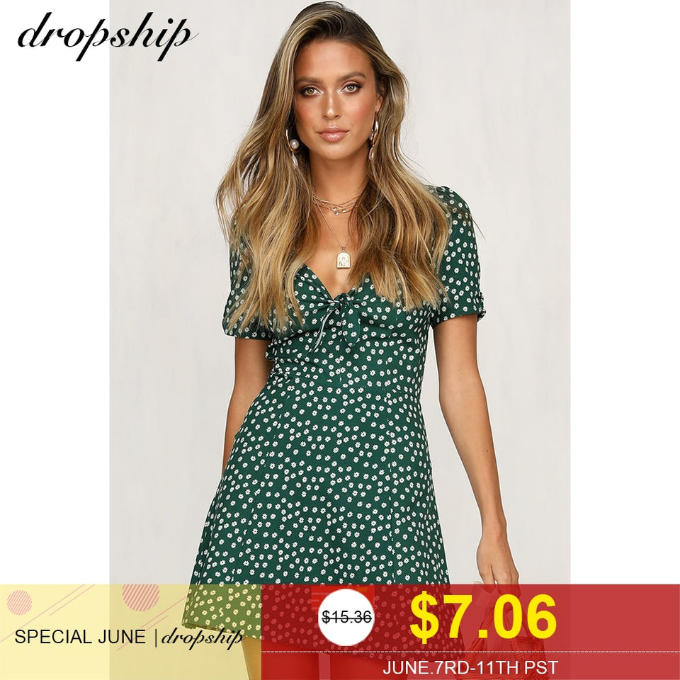 Dropship Dress Summer Women Dresses Sexy Neon 2019 Beach Boho Bandage Vestidos Sundress Mini Flower Print Short Sleeve V-neck