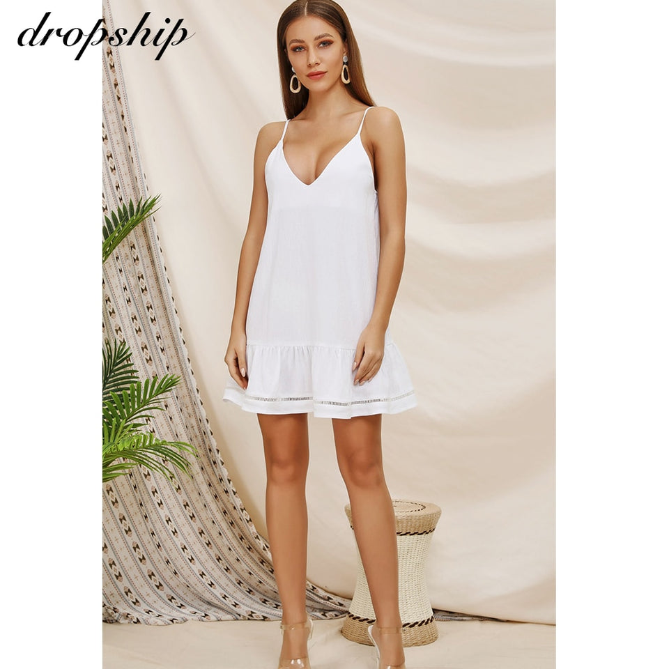 Dropship Dress Women Dresses Summer White Sexy Beach Mini Boho Sun Backless Vestidos Verano 2019 Robe Femme Deep V Sleeveless