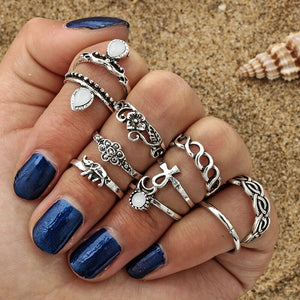10pc/set Unique Boho Beach Carved Punk Elephant Moon Finger Midi Ring Set Party Jewelry Gift for Women Girl Knuckle