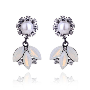 3 Leaves Crystal Rhinestone Decoration Earrings Imitation Pearl drop Earrings  Christmas Gift Jewelry