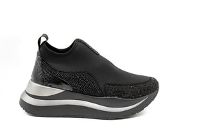 Cafe Noir Sneakers Slip on Υφασμάτινα με Strass - Μαύρα