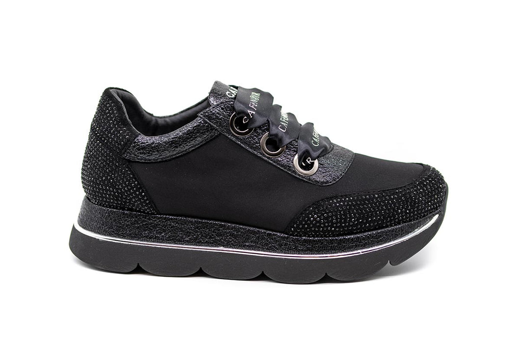 Cafe Noir Sneakers Υφασμάτινα με Strass - Μαύρα