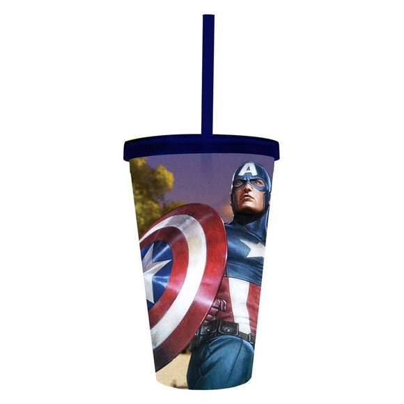COLD CUP PLASTIC STREW - MARVEL - CAPTAIN AMERICA NEW