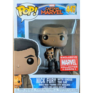 Pop! Marvel: Captain Marvel - Nick Fury with Goose the Cat 447