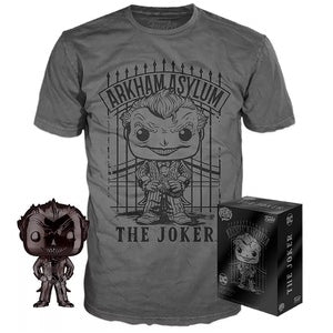 Pop! Heroes - The Joker (Arkham Asylum) (Black Chrome) Tee Box (LG)