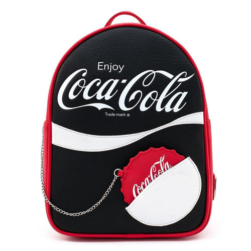 LOUNGEFLY COCA COLA BLK/WHT LOGO WITH COIN PURSE MINI BACKPACK