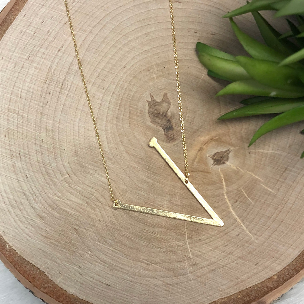 Gold V Initial Necklace