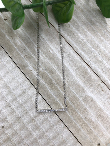 CZ Bar Sterling Silver Necklace