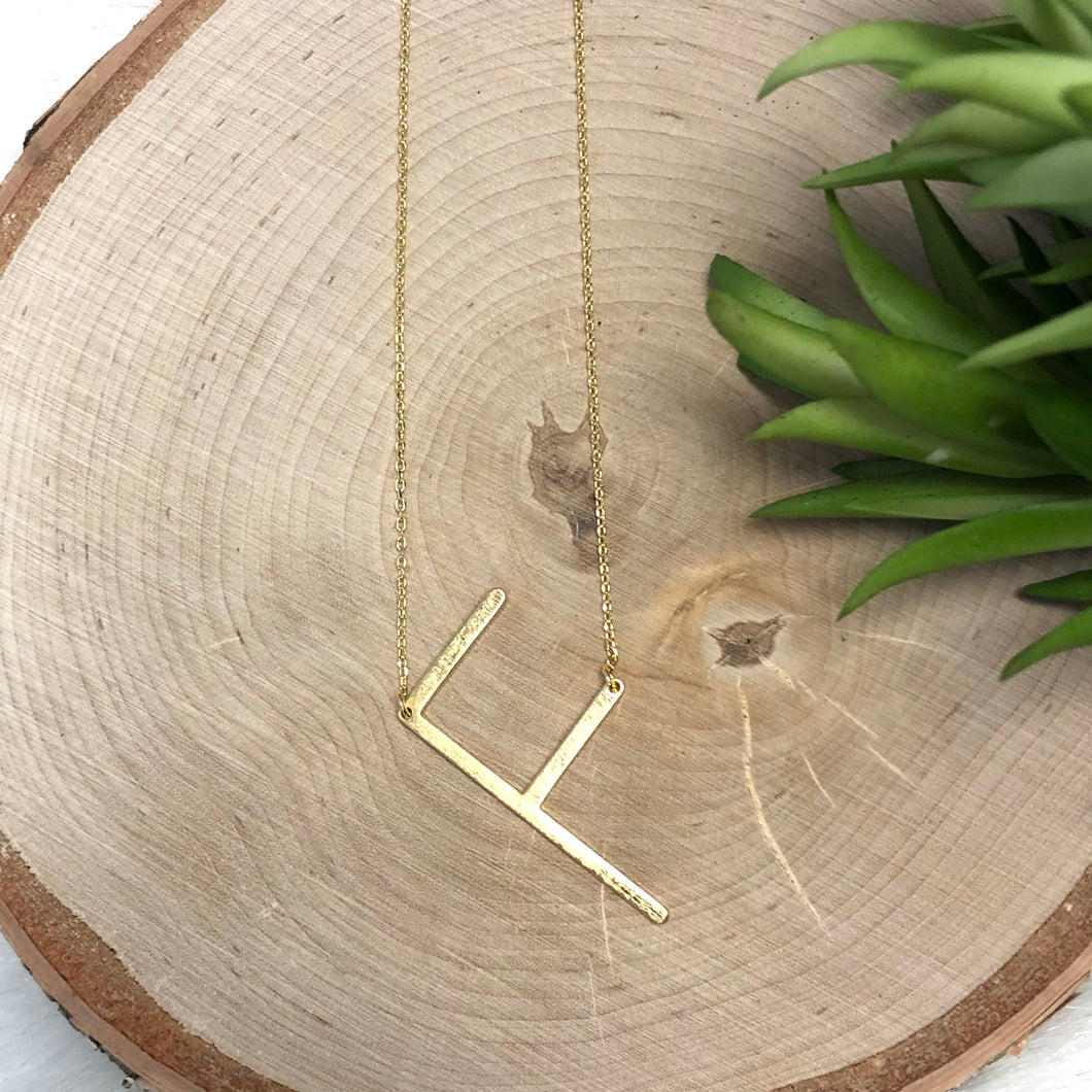 Gold F Initial Necklace