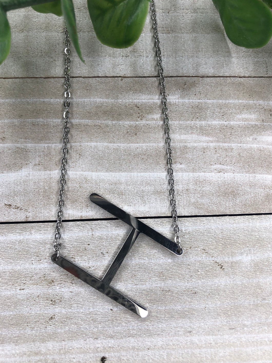Silver H Initial Necklace