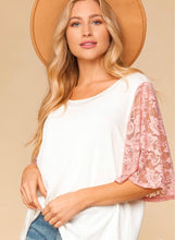 Amanda Lace Flutter Sleeve Top